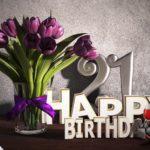 Geburtstagsgruß 21 Happy Birthday mit Tulpenstrauß