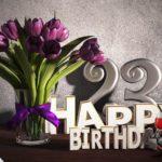 Geburtstagsgruß 23 Happy Birthday mit Tulpenstrauß