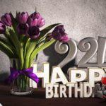 Geburtstagsgruß 24 Happy Birthday mit Tulpenstrauß