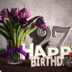 Geburtstagsgruß 27 Happy Birthday mit Tulpenstrauß