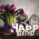 Geburtstagsgruß 30 Happy Birthday mit Tulpenstrauß