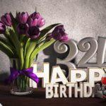 Geburtstagsgruß 34 Happy Birthday mit Tulpenstrauß