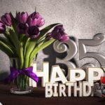 Geburtstagsgruß 35 Happy Birthday mit Tulpenstrauß