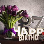 Geburtstagsgruß 37 Happy Birthday mit Tulpenstrauß
