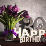 Geburtstagsgruß 39 Happy Birthday mit Tulpenstrauß