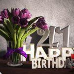 Geburtstagsgruß 41 Happy Birthday mit Tulpenstrauß