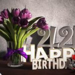 Geburtstagsgruß 44 Happy Birthday mit Tulpenstrauß