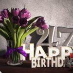 Geburtstagsgruß 47 Happy Birthday mit Tulpenstrauß