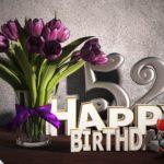Geburtstagsgruß 52 Happy Birthday mit Tulpenstrauß