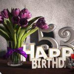 Geburtstagsgruß 53 Happy Birthday mit Tulpenstrauß