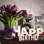 Geburtstagsgruß 55 Happy Birthday mit Tulpenstrauß