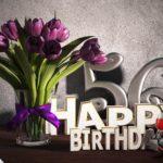 Geburtstagsgruß 56 Happy Birthday mit Tulpenstrauß