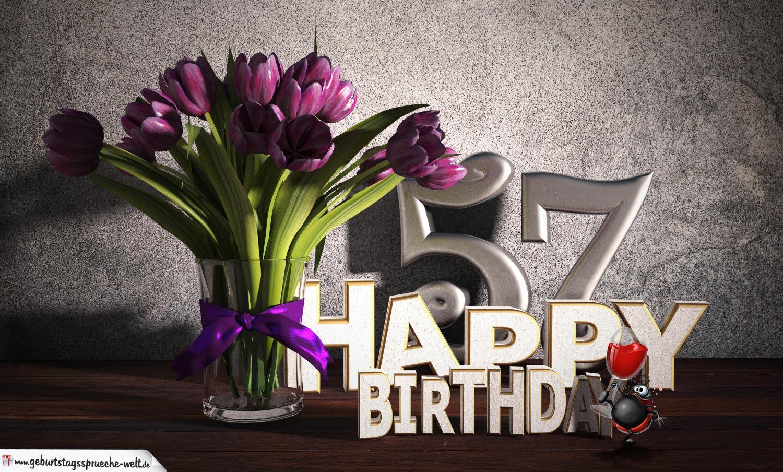 Geburtstagsgruß 57 Happy Birthday mit Tulpenstrauß