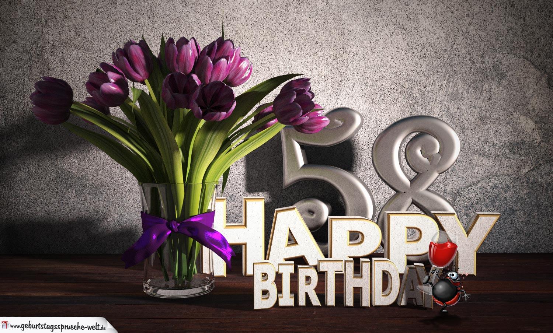 Geburtstagsgruß 58 Happy Birthday mit Tulpenstrauß