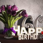 Geburtstagsgruß 60 Happy Birthday mit Tulpenstrauß