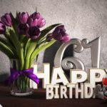 Geburtstagsgruß 61 Happy Birthday mit Tulpenstrauß