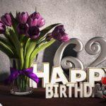 Geburtstagsgruß 62 Happy Birthday mit Tulpenstrauß