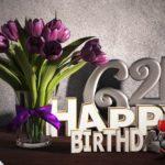 Geburtstagsgruß 64 Happy Birthday mit Tulpenstrauß