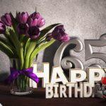 Geburtstagsgruß 65 Happy Birthday mit Tulpenstrauß