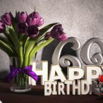Geburtstagsgruß 69 Happy Birthday mit Tulpenstrauß