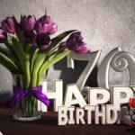 Geburtstagsgruß 70 Happy Birthday mit Tulpenstrauß