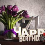 Geburtstagsgruß 71 Happy Birthday mit Tulpenstrauß