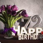 Geburtstagsgruß 72 Happy Birthday mit Tulpenstrauß