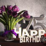 Geburtstagsgruß 75 Happy Birthday mit Tulpenstrauß