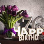 Geburtstagsgruß 76 Happy Birthday mit Tulpenstrauß