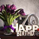 Geburtstagsgruß 79 Happy Birthday mit Tulpenstrauß