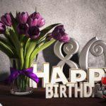 Geburtstagsgruß 80 Happy Birthday mit Tulpenstrauß