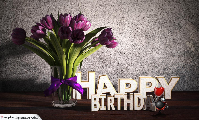 Geburtstagsgruß Happy Birthday mit Tulpenstrauß