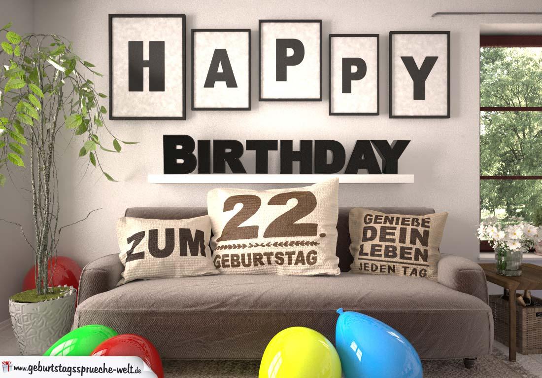 Happy Birthday 22 Jahre Wohnzimmer - Sofa mit Kissen und Spruch.jpg