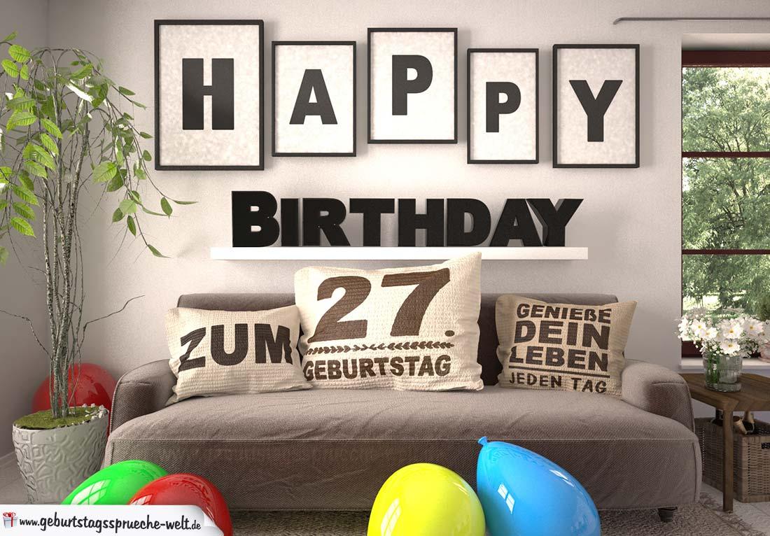 Happy Birthday 27 Jahre Wohnzimmer - Sofa mit Kissen und Spruch.jpg