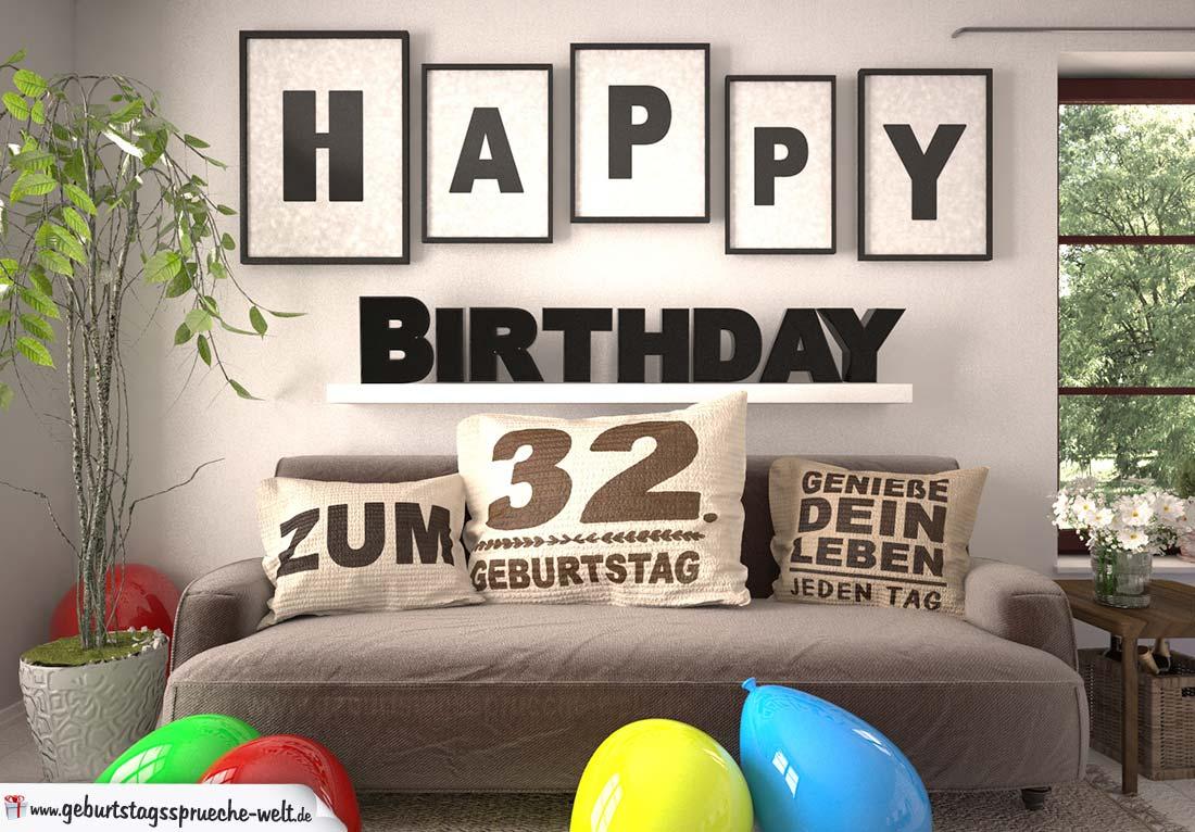 Happy Birthday 32 Jahre Wohnzimmer - Sofa mit Kissen und Spruch.jpg