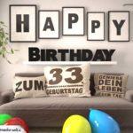 Happy Birthday 33 Jahre Wohnzimmer - Sofa mit Kissen und Spruch.jpg