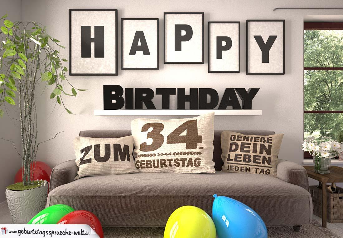 Happy Birthday 34 Jahre Wohnzimmer - Sofa mit Kissen und Spruch.jpg