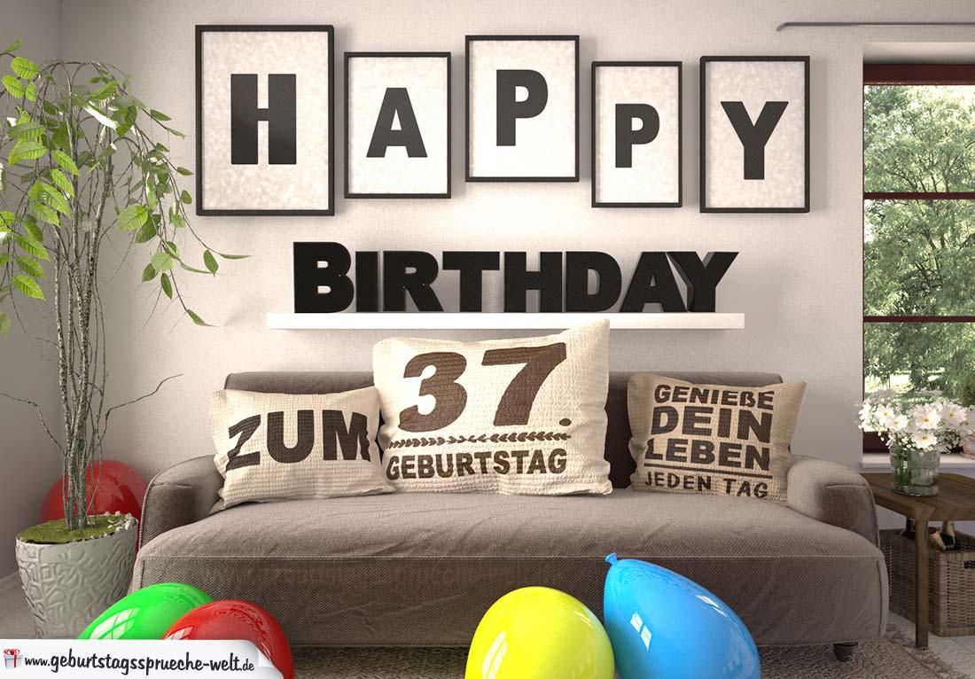 Happy Birthday 37 Jahre Wohnzimmer - Sofa mit Kissen und Spruch.jpg