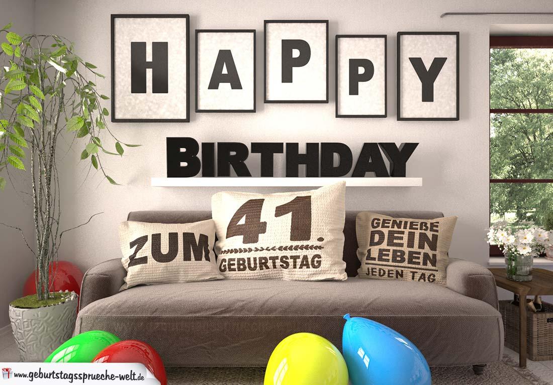 Happy Birthday 41 Jahre Wohnzimmer - Sofa mit Kissen und Spruch.jpg