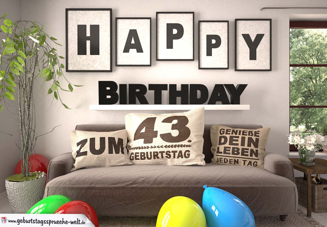 Happy Birthday 43 Jahre Wohnzimmer - Sofa mit Kissen und Spruch.jpg
