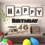 Happy Birthday 46 Jahre Wohnzimmer - Sofa mit Kissen und Spruch.jpg