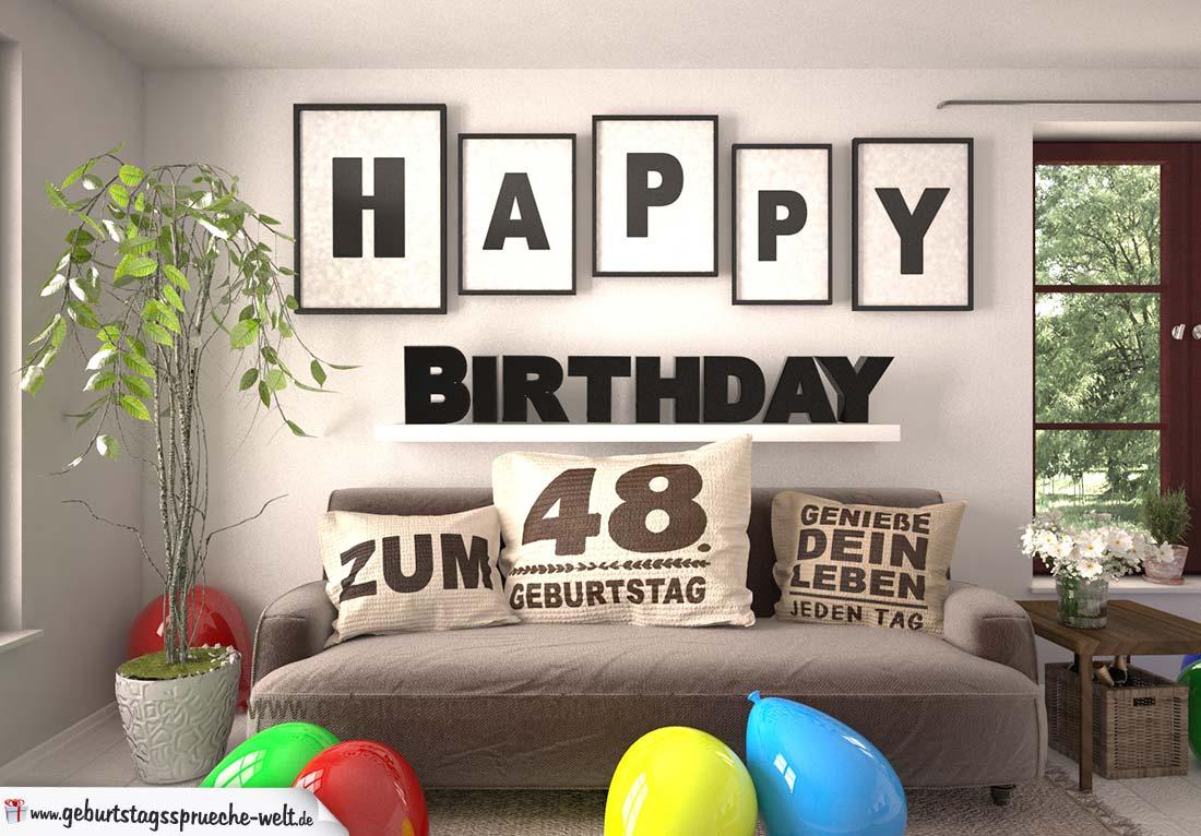 Happy Birthday 48 Jahre Wohnzimmer - Sofa mit Kissen und Spruch.jpg