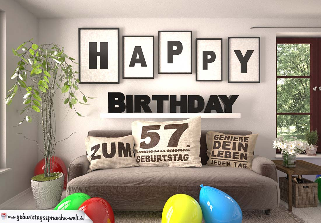 Happy Birthday 57 Jahre Wohnzimmer - Sofa mit Kissen und Spruch.jpg