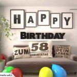 Happy Birthday 58 Jahre Wohnzimmer - Sofa mit Kissen und Spruch.jpg