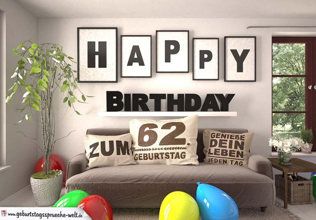 Happy Birthday 62 Jahre Wohnzimmer - Sofa mit Kissen und Spruch.jpg