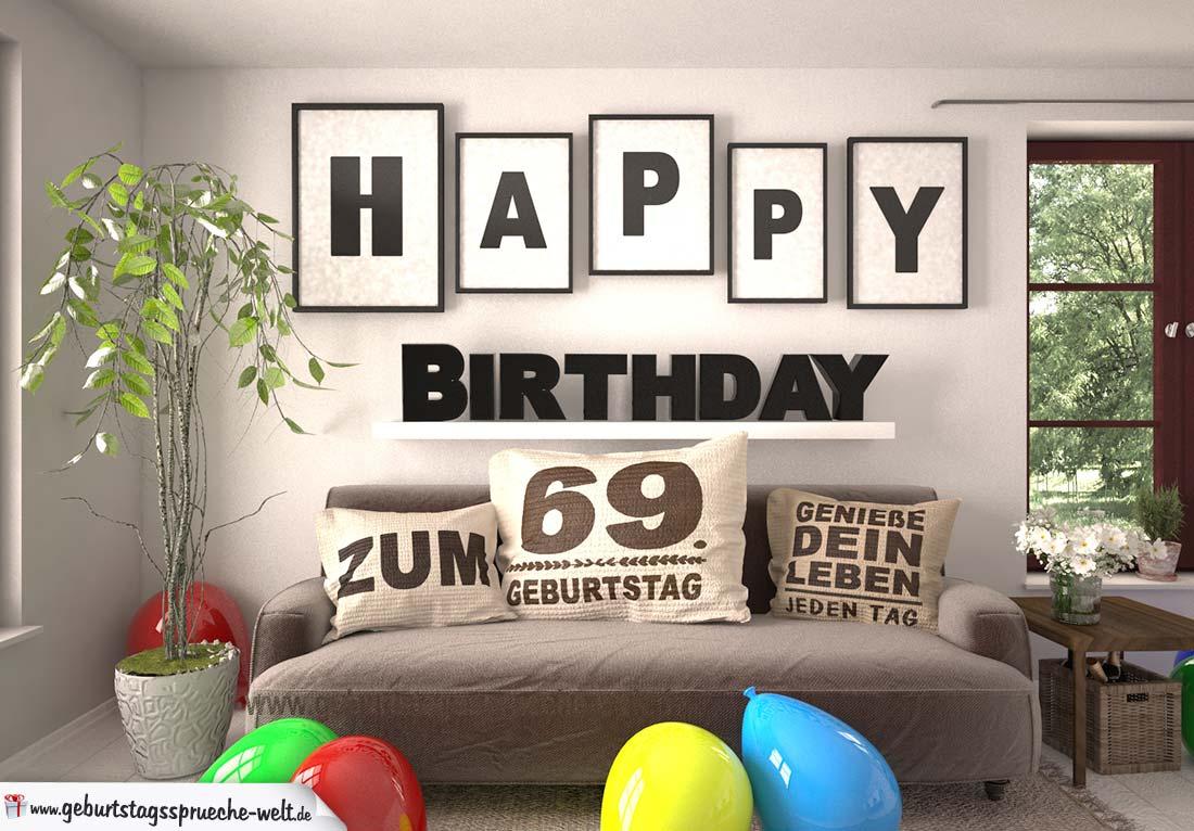 Happy Birthday 69 Jahre Wohnzimmer - Sofa mit Kissen und Spruch.jpg