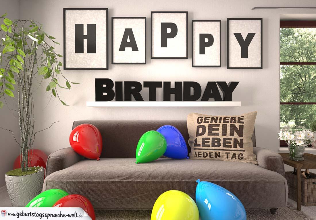 Happy Birthday Wohnzimmer - Sofa mit Kissen und Spruch