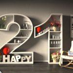 Kostenlose Geburtstagskarte Happy Birthday mit Spruch zum 21. Geburtstag