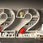 Kostenlose Geburtstagskarte Happy Birthday mit Spruch zum 22. Geburtstag