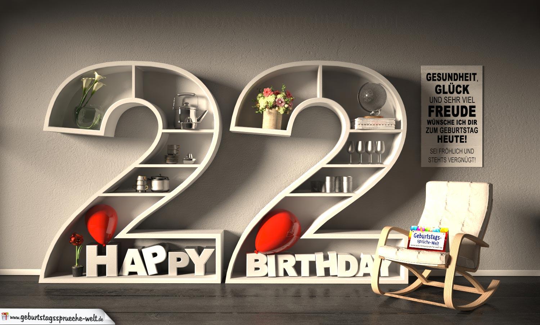 Kostenlose Geburtstagskarte Happy Birthday Mit Spruch Zum 22